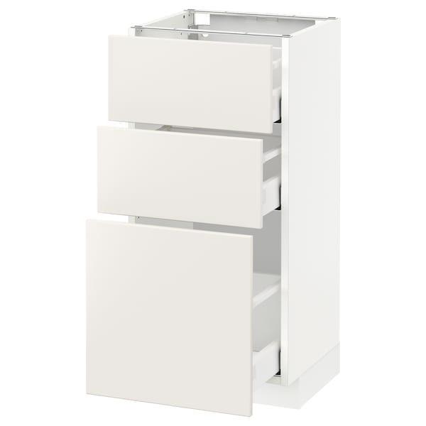 METOD / MAXIMERA خزانة أساسية مع 3 أدراج, أبيض/Veddinge أبيض, 40x37 سم
