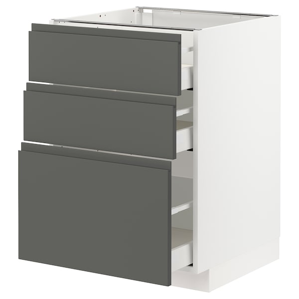 METOD / MAXIMERA خزانة أساسية مع 3 أدراج, أبيض/Voxtorp رمادي غامق, 60x60 سم