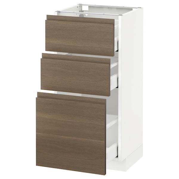 METOD / MAXIMERA خزانة أساسية مع 3 أدراج, أبيض/Voxtorp شجرة الجوز, 40x37 سم