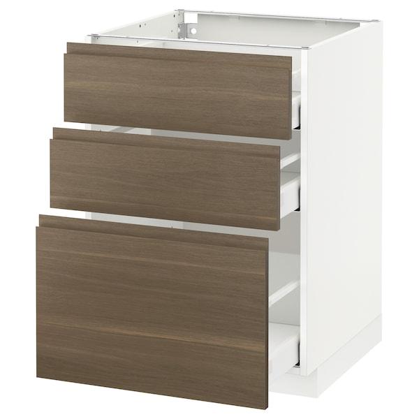 METOD / MAXIMERA خزانة أساسية مع 3 أدراج, أبيض/Voxtorp شجرة الجوز, 60x60 سم