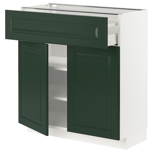 METOD / MAXIMERA Base cabinet with drawer/2 doors, white/Bodbyn dark green, 80x37 cm
