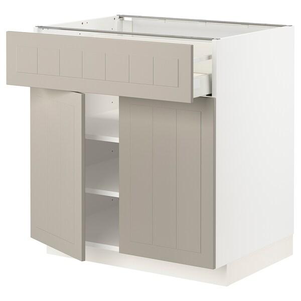 METOD / MAXIMERA خزانة قاعدة مع درج/بابين, أبيض/Stensund بيج, 80x60 سم