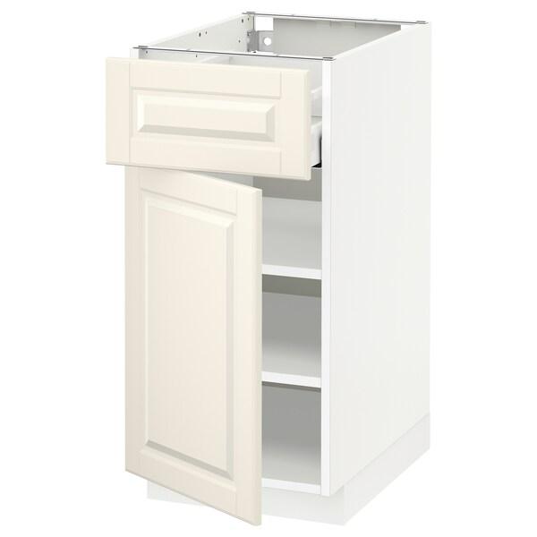 METOD / MAXIMERA خزانة قاعدة مع درج/باب, أبيض/Bodbyn أبيض-عاجي, 40x60 سم