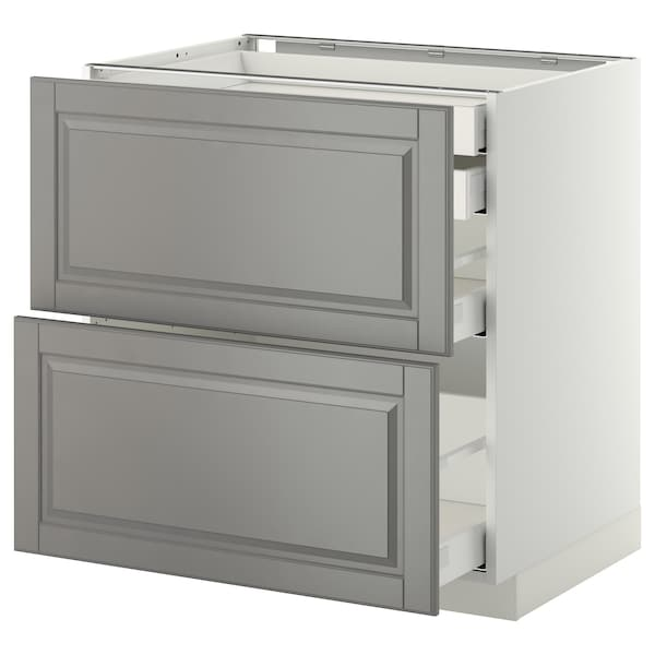 METOD / MAXIMERA Base cb 2 frnts/2 low/1 md/1 hi drw, white/Bodbyn grey, 80x60 cm
