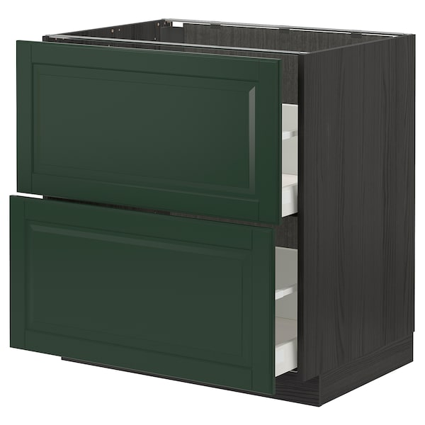 METOD / MAXIMERA Base cb 2 fronts/2 high drawers, black/Bodbyn dark green, 80x60 cm