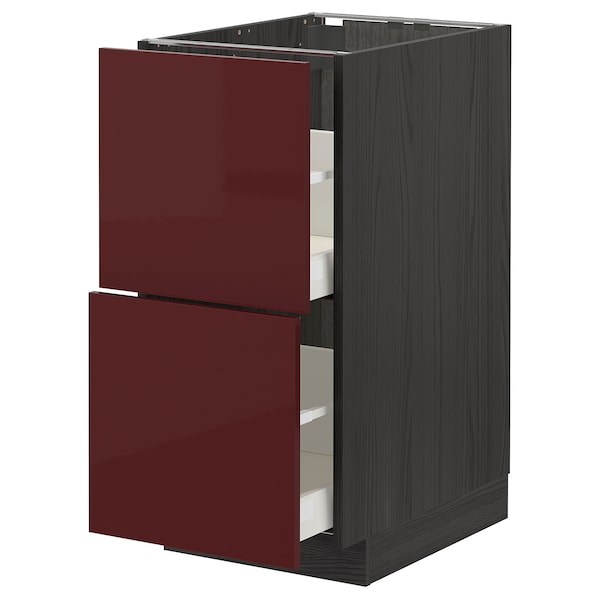 METOD / MAXIMERA Base cb 2 fronts/2 high drawers, black Kallarp/high-gloss dark red-brown, 40x60 cm