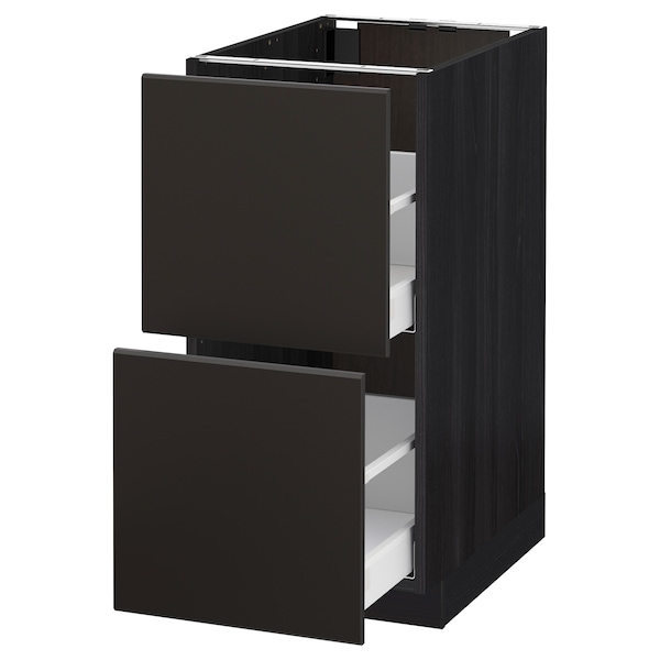 METOD / MAXIMERA Base cb 2 fronts/2 high drawers, black/Kungsbacka anthracite, 40x60 cm