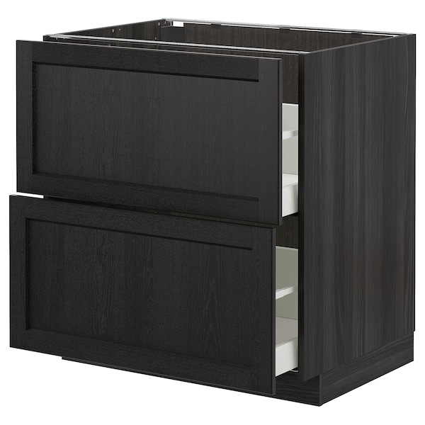METOD / MAXIMERA Base cb 2 fronts/2 high drawers, black/Lerhyttan black stained, 80x60 cm