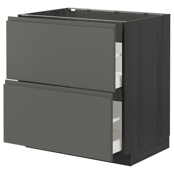 METOD / MAXIMERA Base cb 2 fronts/2 high drawers, black/Voxtorp dark grey, 80x60 cm