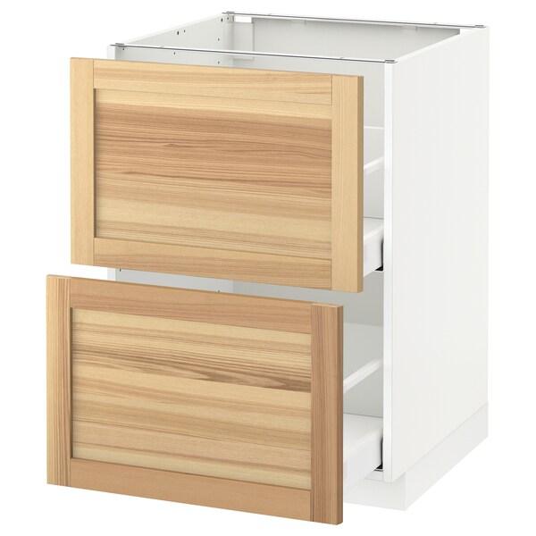 METOD / MAXIMERA Base cb 2 fronts/2 high drawers, white/Torhamn ash, 60x60 cm