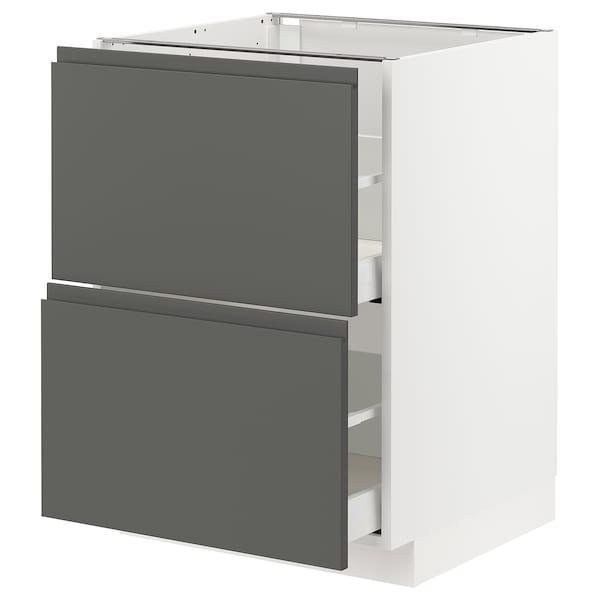 METOD / MAXIMERA Base cb 2 fronts/2 high drawers, white/Voxtorp dark grey, 60x60 cm