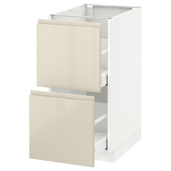 METOD / MAXIMERA Base cb 2 fronts/2 high drawers, white/Voxtorp high-gloss light beige, 40x60 cm