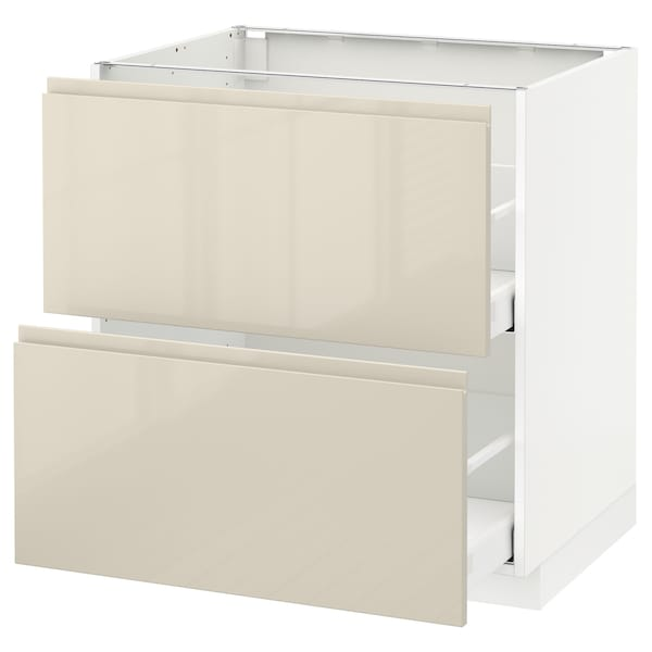METOD / MAXIMERA Base cb 2 fronts/2 high drawers, white/Voxtorp high-gloss light beige, 80x60 cm