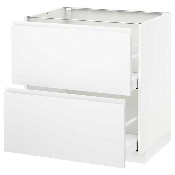 METOD / MAXIMERA Base cb 2 fronts/2 high drawers, white/Voxtorp matt white, 80x60 cm