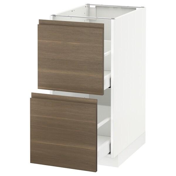 METOD / MAXIMERA base cb 2 fronts/2 high drawers white/Voxtorp walnut 40.0 cm 62.1 cm 88.0 cm 60.0 cm 80.0 cm