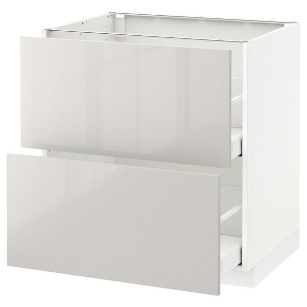 METOD / MAXIMERA base cb 2 fronts/2 high drawers white/Ringhult light grey 80.0 cm 61.8 cm 88.0 cm 60.0 cm 80.0 cm