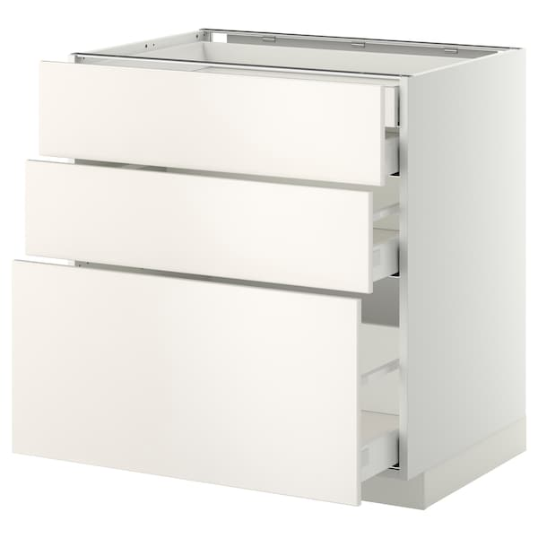 METOD / MAXIMERA Base cb 3 frnts/2 low/1 md/1 hi drw, white/Veddinge white, 80x60 cm