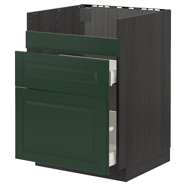 METOD / MAXIMERA قاعدة HAVSEN مع حوض/3 واجهات/درجين, أسود/Bodbyn أخضر غامق, 60x60 سم