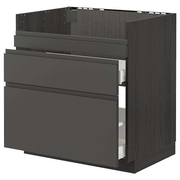 METOD / MAXIMERA قاعدة HAVSEN مع حوض/3 واجهات/درجين, أسود/Voxtorp رمادي غامق, 80x60 سم