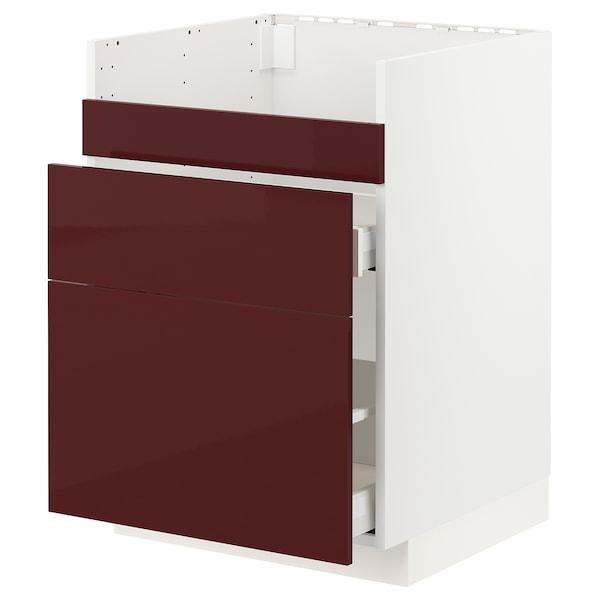 METOD / MAXIMERA قاعدة HAVSEN مع حوض/3 واجهات/درجين, أبيض Kallarp/لامع أحمر-بني غامق, 60x60 سم