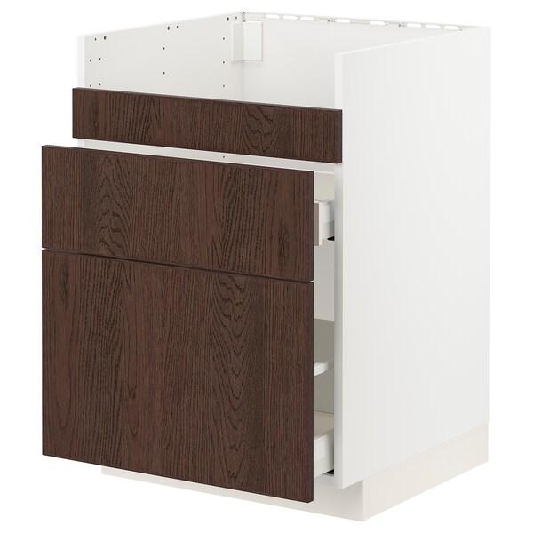 METOD / MAXIMERA خزانة قاعدة لحوض HAVSEN /3 واجهات, أبيض/Sinarp بني, 60x60 سم