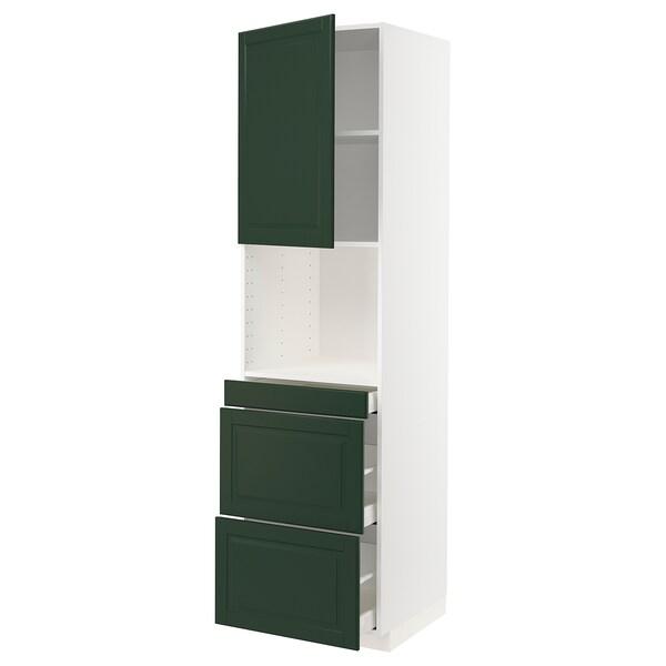 METOD / MAXIMERA Hi cab f micro combi w door/3 drwrs, white/Bodbyn dark green, 60x60x220 cm