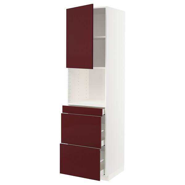METOD / MAXIMERA Hi cab f micro combi w door/3 drwrs, white Kallarp/high-gloss dark red-brown, 60x60x220 cm