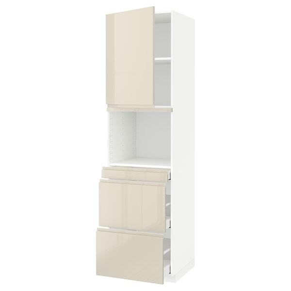 METOD / MAXIMERA Hi cab f micro combi w door/3 drwrs, white/Voxtorp high-gloss light beige, 60x60x220 cm