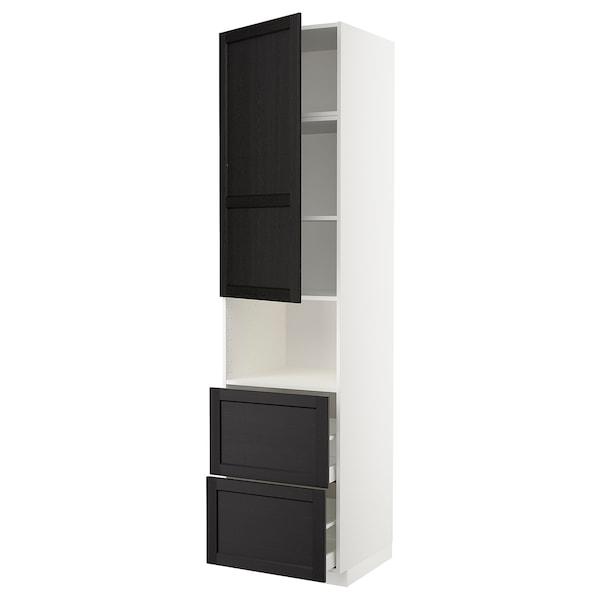 METOD / MAXIMERA Hi cab f micro w door/2 drawers, white/Lerhyttan black stained, 60x60x240 cm