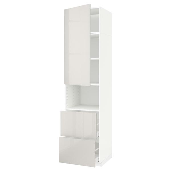 METOD / MAXIMERA Hi cab f micro w door/2 drawers, white/Ringhult light grey, 60x60x240 cm