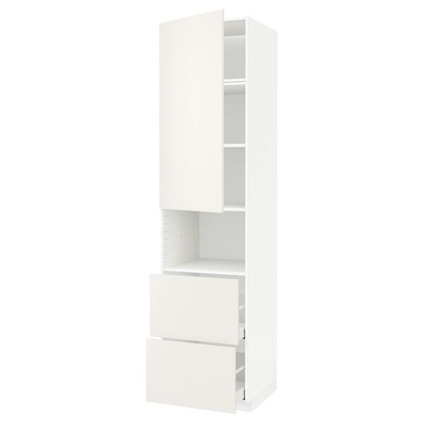 METOD / MAXIMERA Hi cab f micro w door/2 drawers, white/Veddinge white, 60x60x240 cm