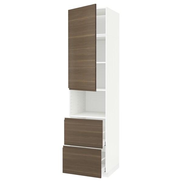 METOD / MAXIMERA Hi cab f micro w door/2 drawers, white/Voxtorp walnut effect, 60x60x240 cm
