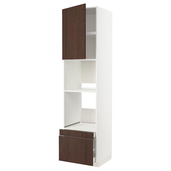 METOD / MAXIMERA خزانة عالية لفرن/فرن مع ب./2 د., أبيض/Sinarp بني, 60x60x240 سم