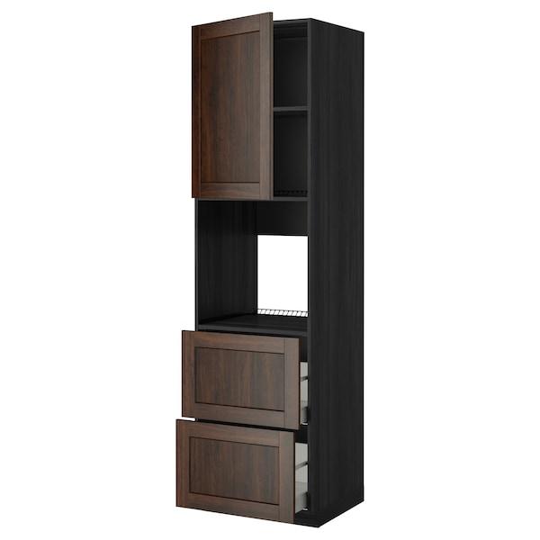 METOD / MAXIMERA خزانة عالية لفرن مع د., أسود/Edserum بني, 60x60x220 سم
