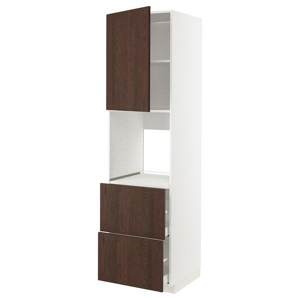 METOD / MAXIMERA خزانة عالية لفرن مع د., أبيض/Sinarp بني, 60x60x220 سم