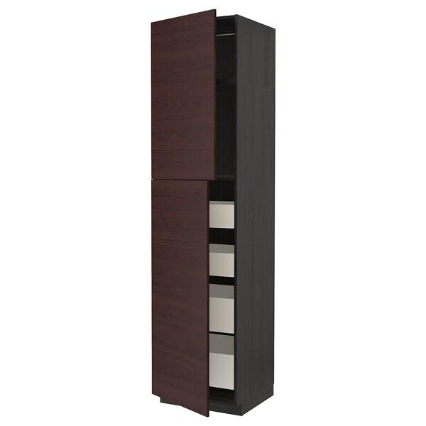 METOD / MAXIMERA Hi cab w 2 doors/4 drawers, black Askersund/dark brown ash effect, 60x60x240 cm