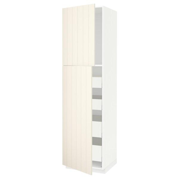 METOD / MAXIMERA hi cab w 2 doors/4 drawers white/Hittarp off-white 60.0 cm 61.8 cm 228.0 cm 60.0 cm 220.0 cm