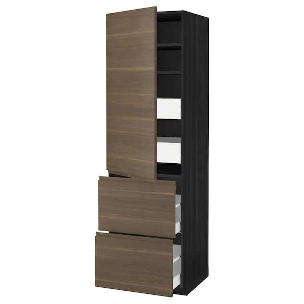 METOD / MAXIMERA Hi cab w shlvs/4 drawers/dr/2 frnts, black/Voxtorp walnut effect, 60x60x200 cm