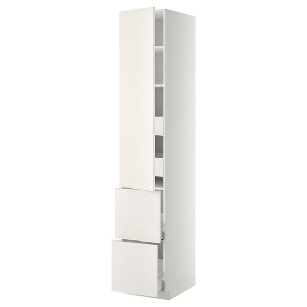 METOD / MAXIMERA خزانة عالية+أرفف/4أدراج/باب/2, أبيض/Veddinge أبيض, 40x60x220 سم