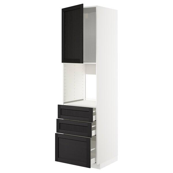 METOD / MAXIMERA خزانة عالية للفرن مع باب/3 أدراج, أبيض/Lerhyttan صباغ أسود, 60x60x220 سم
