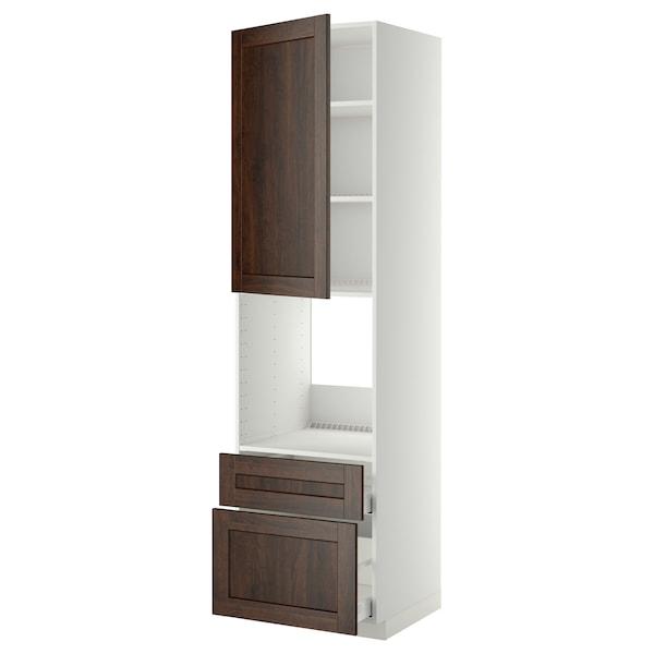 METOD / MAXIMERA High cabinet f oven+door/2 drawers, white/Edserum brown, 60x60x220 cm