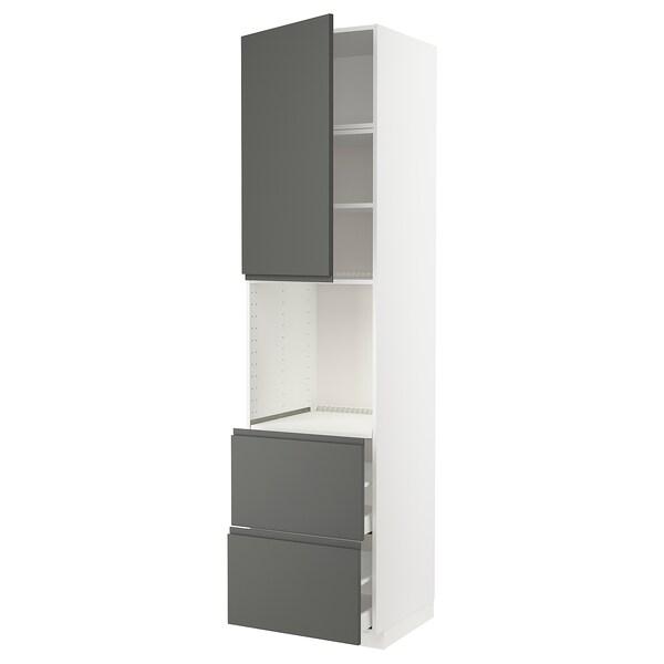 METOD / MAXIMERA high cabinet f oven+door/2 drawers white/Voxtorp dark grey 60.0 cm 62.1 cm 248.0 cm 60.0 cm 240.0 cm