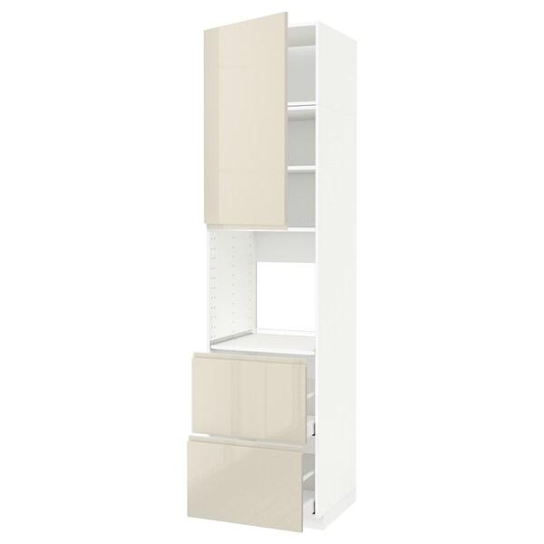 METOD / MAXIMERA خزانة مرتفعة للفرن+باب/2أدراج, أبيض/Voxtorp بيج فاتح لامع, 60x60x240 سم