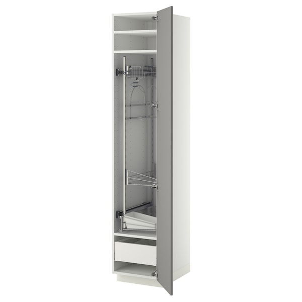 METOD / MAXIMERA High cabinet with cleaning interior, white/Bodbyn grey, 40x60x200 cm