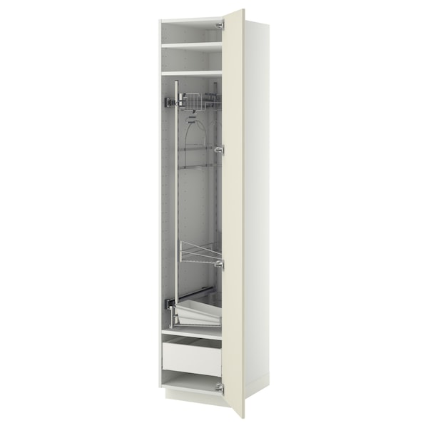 METOD / MAXIMERA High cabinet with cleaning interior, white/Bodbyn off-white, 40x60x200 cm
