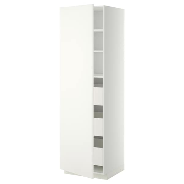 METOD / MAXIMERA High cabinet with drawers, white/Häggeby white, 60x60x200 cm