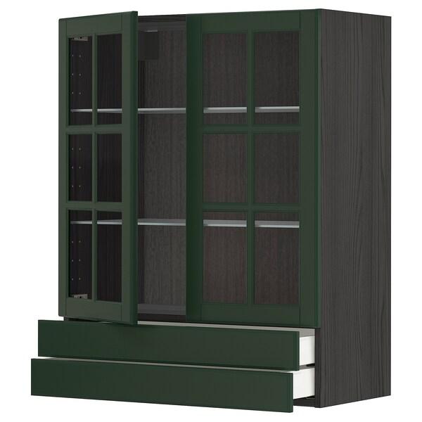 METOD / MAXIMERA Wall cab w 2 glass doors/2 drawers, black/Bodbyn dark green, 80x100 cm