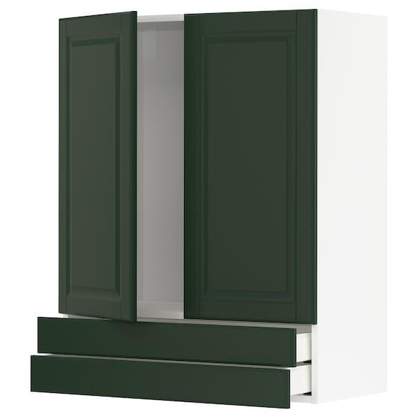 METOD / MAXIMERA خزانة قاعدة بابين/2 أدراج, أبيض/Bodbyn أخضر غامق, 80x100 سم