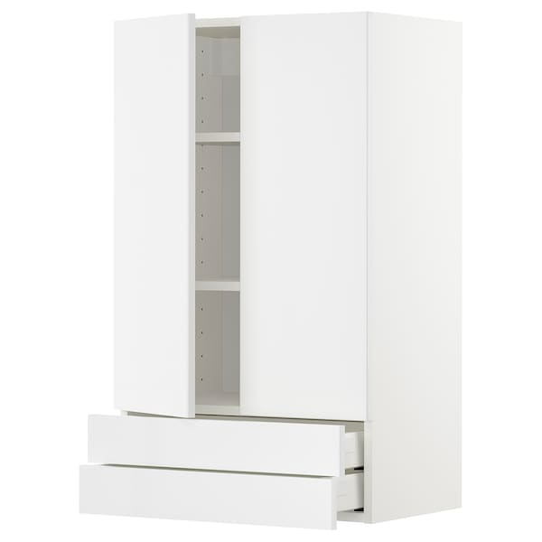 METOD / MAXIMERA Wall cabinet w 2 doors/2 drawers, white/Ringhult white, 60x100 cm