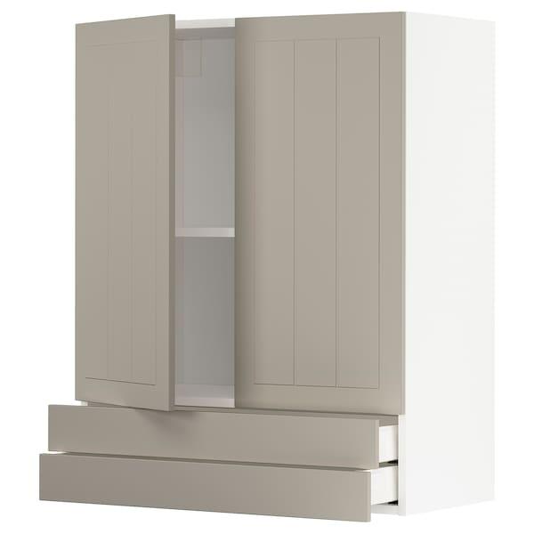 METOD / MAXIMERA خزانة قاعدة بابين/2 أدراج, أبيض/Stensund بيج, 80x100 سم